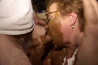 Fat German woman pissing and playing with b&period
