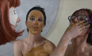 Betty eating and smearing shit in lesbian scat threesome xxx porn ...