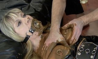 Veronica Moser scat slave shit eating whore in latex suit